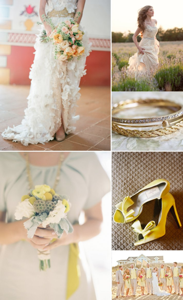 romantic wedding color inspiration taupe yellow ecru 1