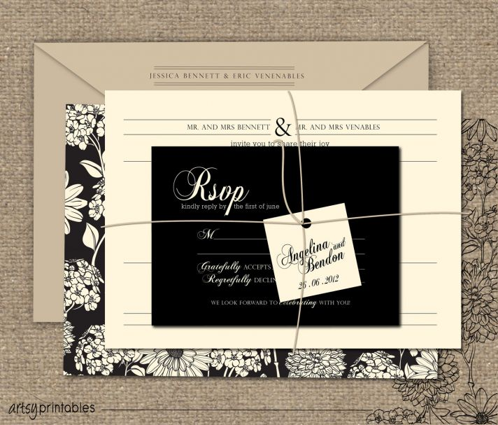 buttercream and black wedding colors elegant weddings beautiful invitation