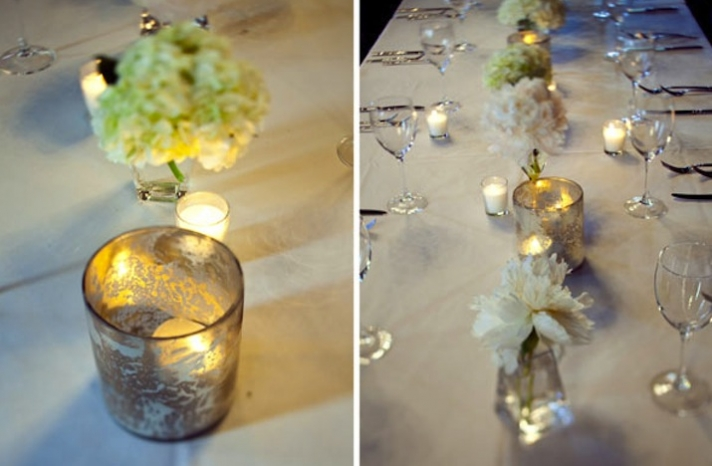 mercury glass wedding tablescapes ivory silver