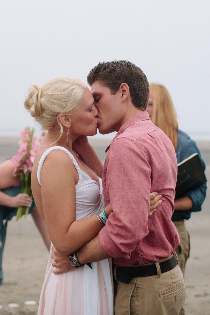 coffey wood beach real wedding linhbergh photography bride groom kiss ceremony