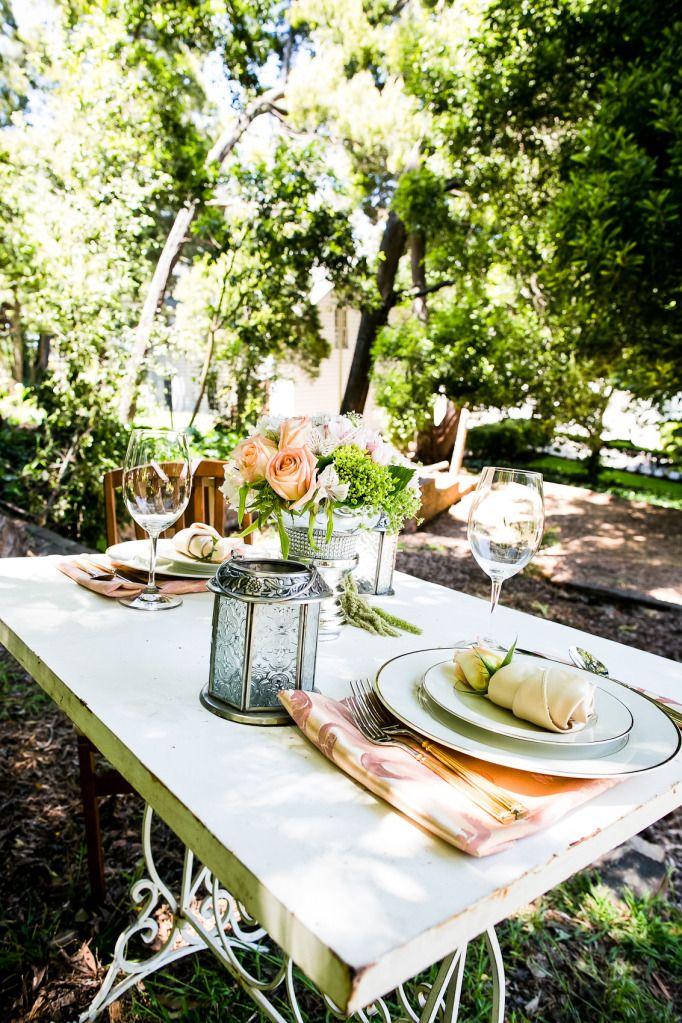 romantic outdoor wedding shoot peach roses sweetheart table