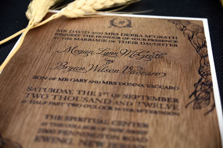 unique wedding invitations for rustic ranch wedding wood veneer