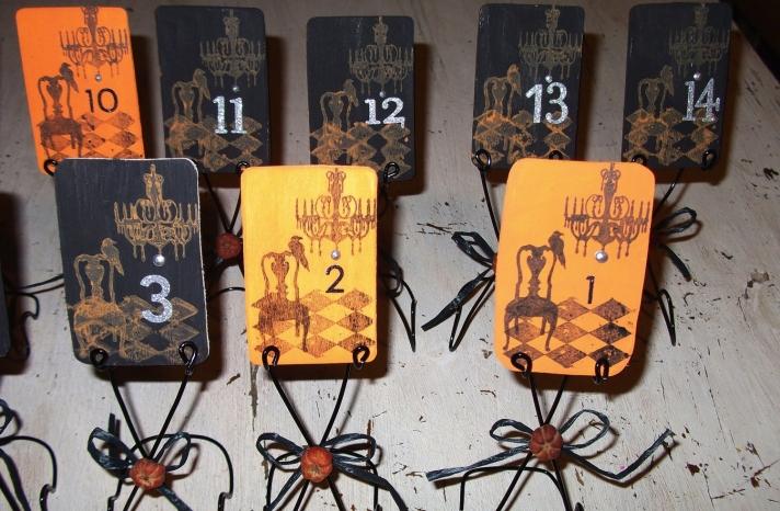 halloween wedding ideas for fall weddings Etsy handmade orange black spooky table numbers