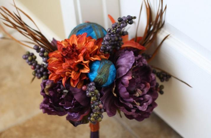 handmade wedding finds for Halloween themed I Dos orange purple blue bouquet