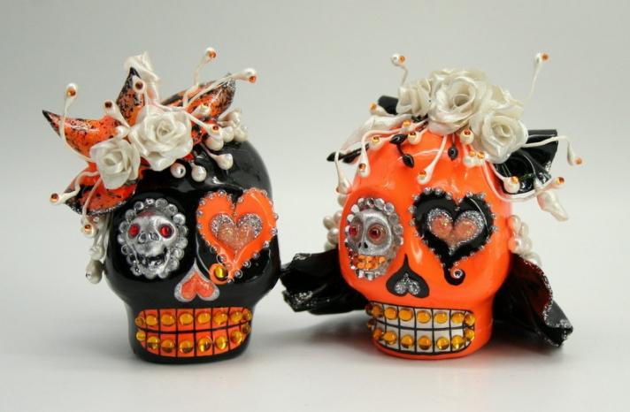 handmade wedding finds for Halloween themed I Dos orange black skull cake topper