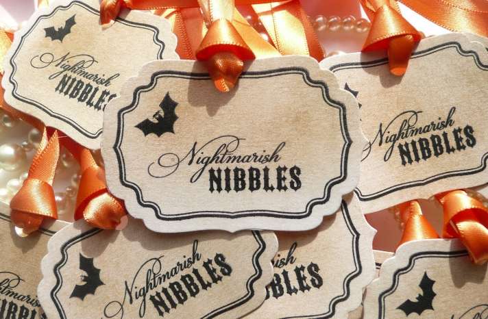 handmade wedding finds for Halloween themed I Dos favor tags