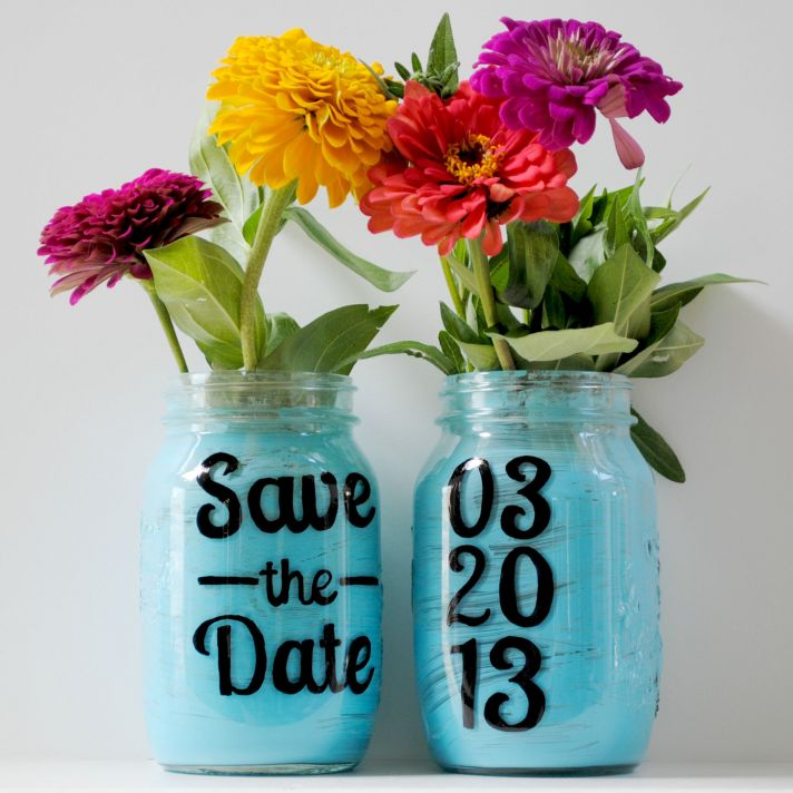 things brides love Mason Jar wedding reception decor centerpieces save the date