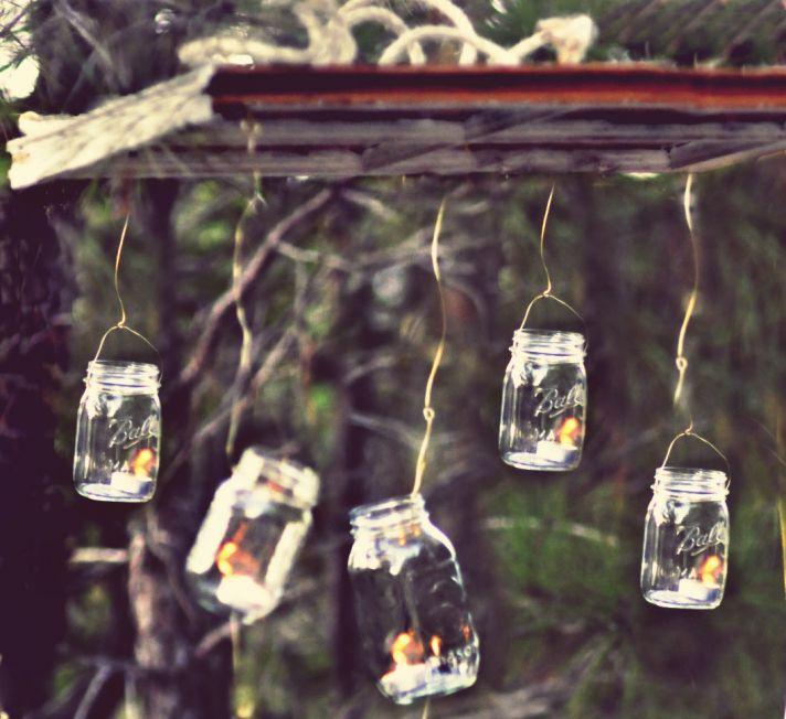 things brides love Mason Jar wedding reception decor centerpieces rustic chandelier