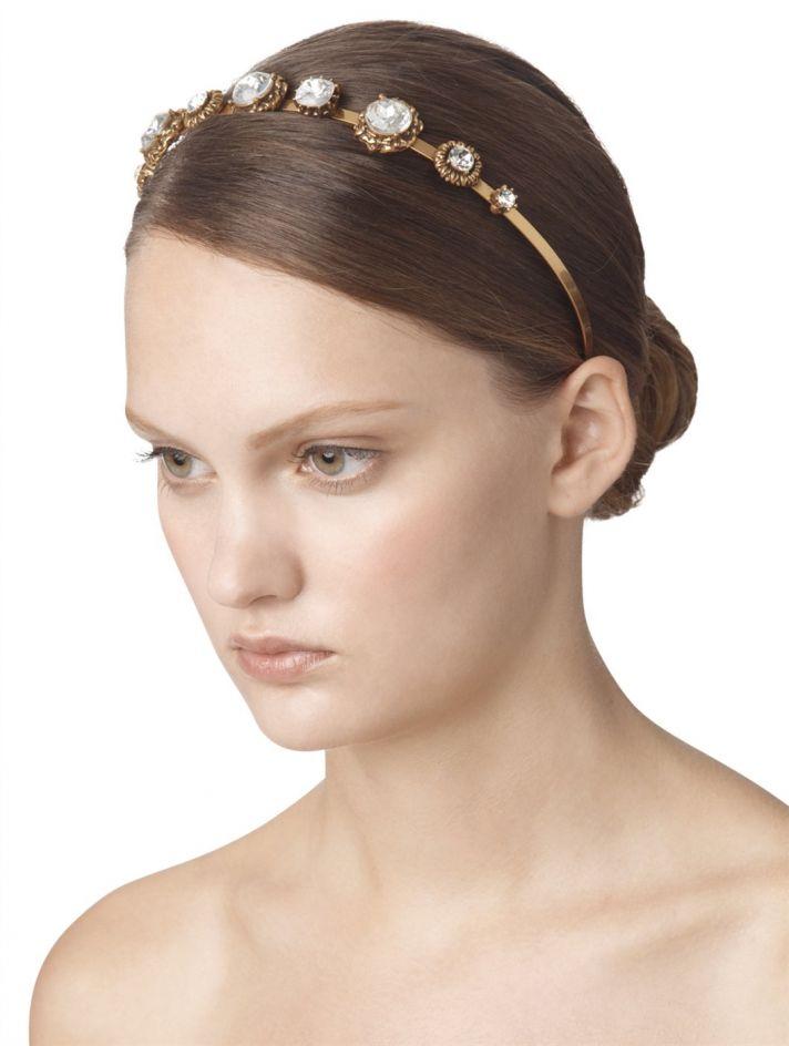 bridal shoes Oscar de la Renta wedding heels gold crystal bridal headband