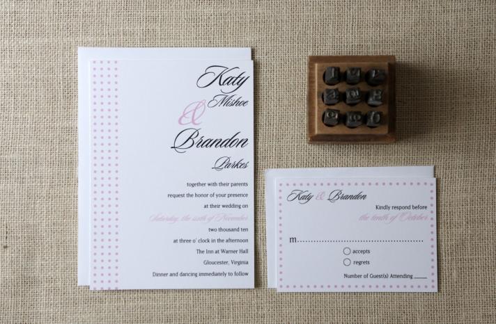 wedding inspiration from Etsy polka dots elegant white black pink invites