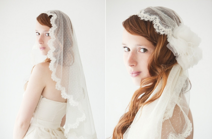 wedding inspiration from Etsy polka dots lace trimmed veil