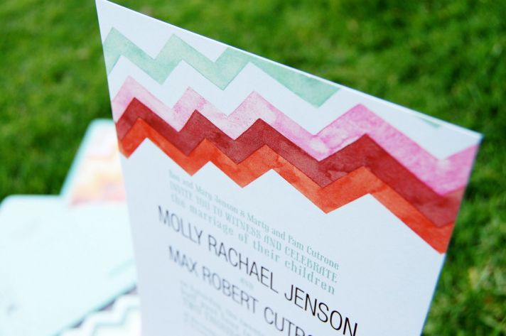 watercolor wedding invitations handmade weddings by Etsy chevron