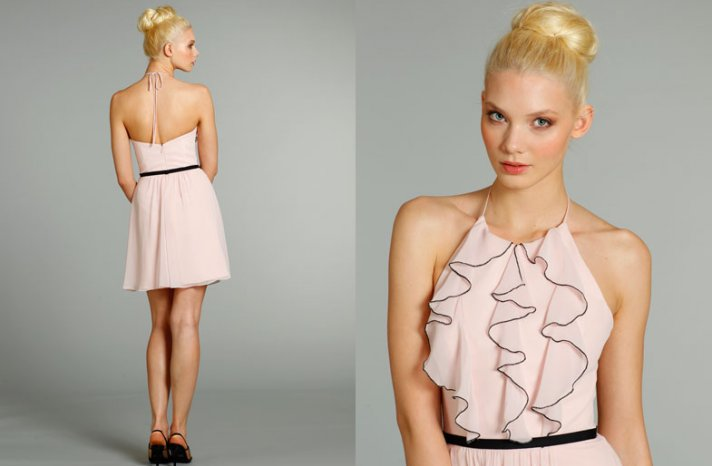bridesmaids dresses for stylish bridal parties Jim Hjelm from JLM Couture light pink ruffle