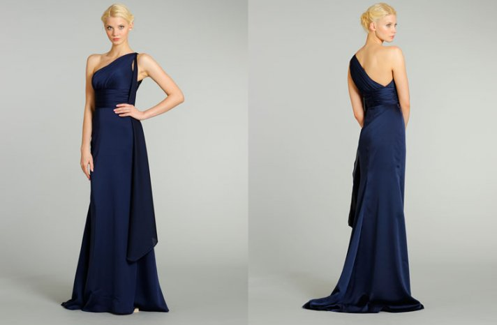 bridesmaids dresses for stylish bridal parties Noir by Lazaro from JLM Couture classic navy