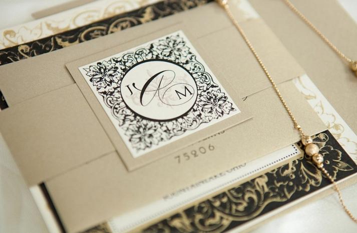 weddings by style Parisian romance wedding decor inspiration gold black ivory invitation