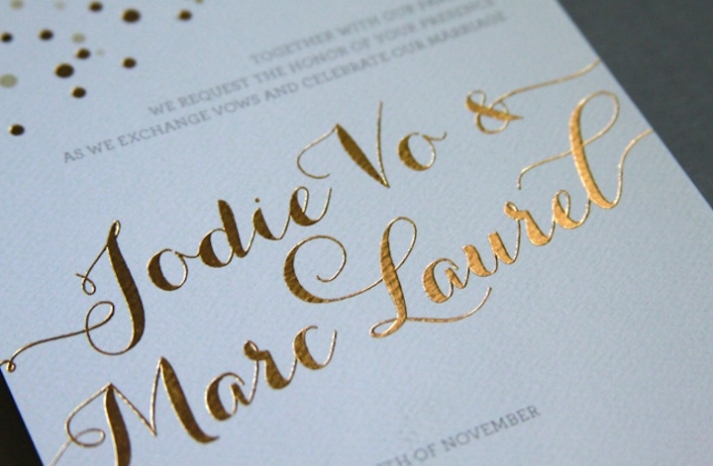 beautiful wedding invitations metallic foil stamping gold white detail
