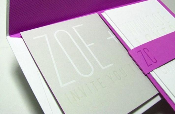 modern wedding invitations silver gray white fuschia 1