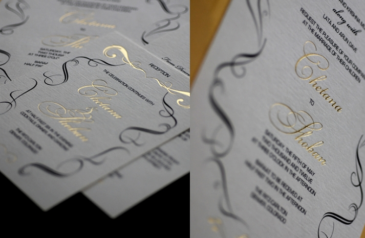 gold black white wedding invitations elegant