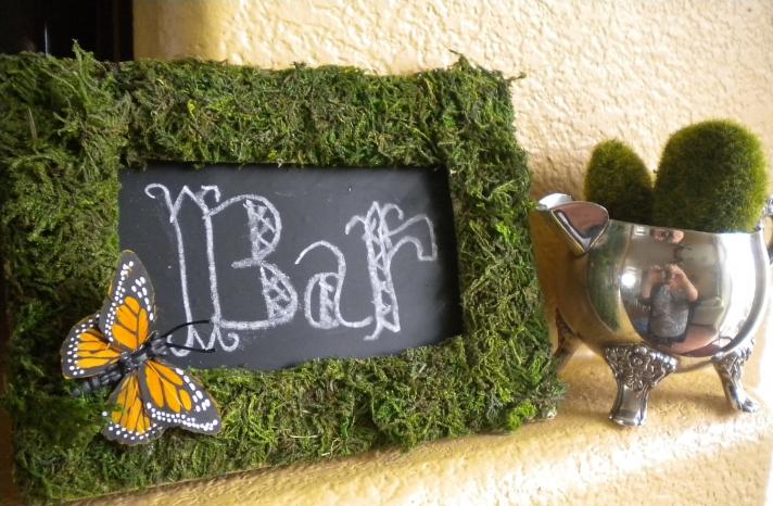 rustic moss wedding ceremony reception decor eco friendly chalkboard sign