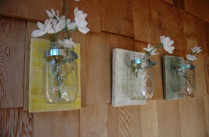 eco friendly wedding finds recycled on Etsy mounted mason jars