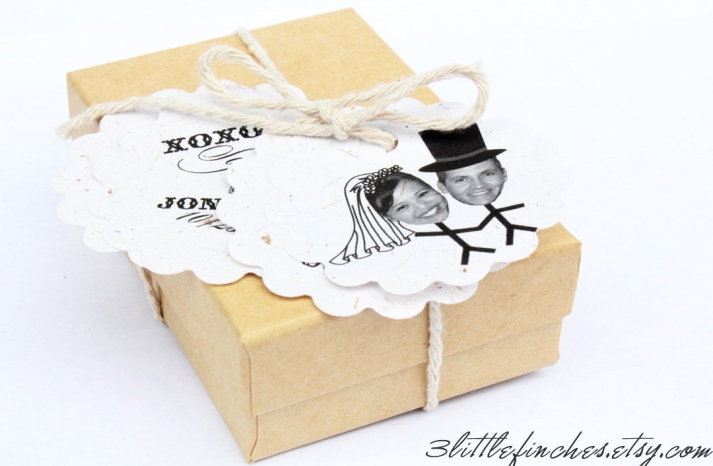 eco friendly wedding finds recycled on Etsy favor tags customized