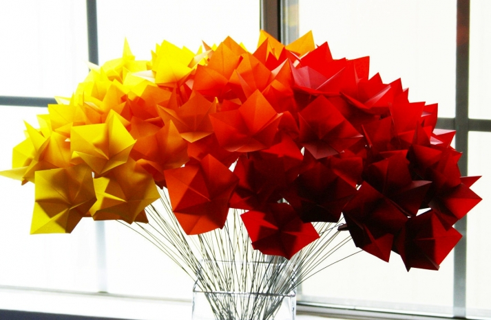 fall wedding flowers bouquets and centerpieces origami ombre