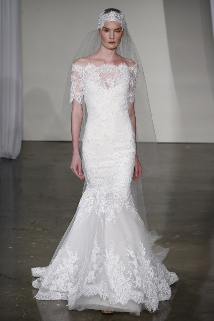 fall 2013 wedding dress trends bridal fashion marchesa lace off the shoulder