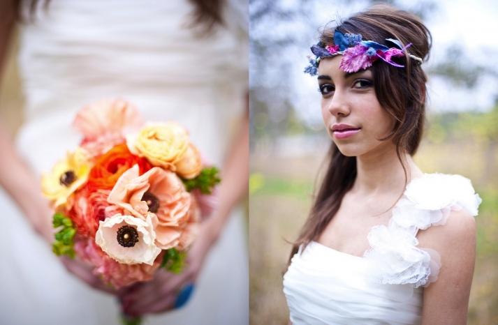 romantic wedding flowers Poppy bridal bouquet 1