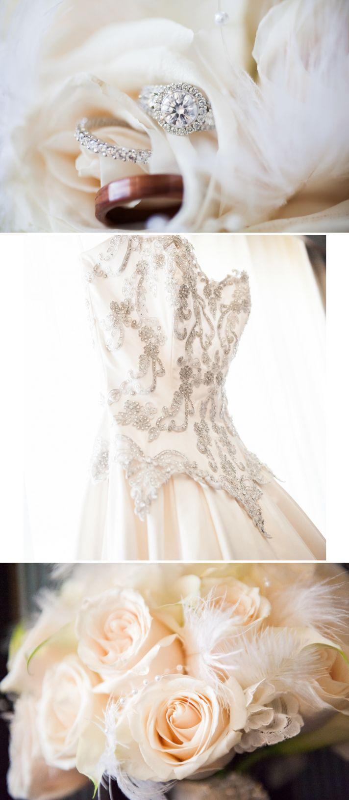 vintage inspired wedding in Los Angeles classic beaded wedding dress 3