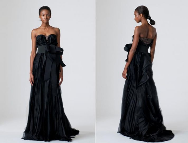 vera wang spring 2010 wedding dresses black wedding dress sleek chic oversized bow at natural waist
