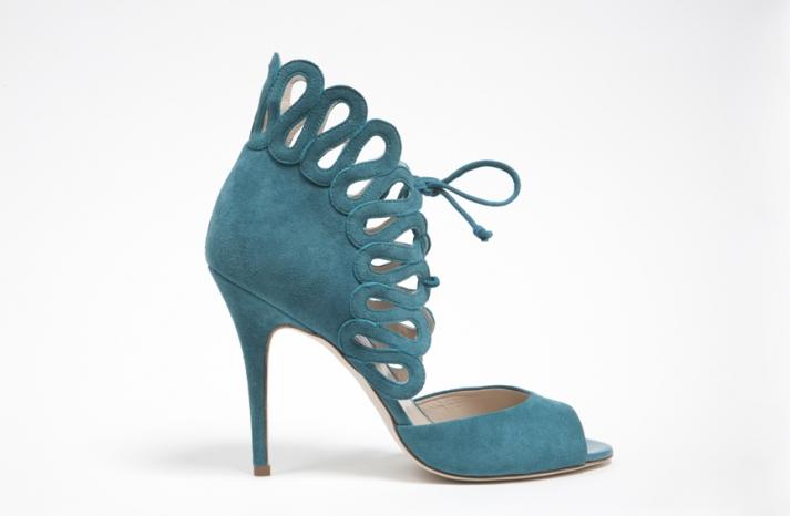 wedding shoes by monique lhuillier Fall 2013 bridal aqua peep toes