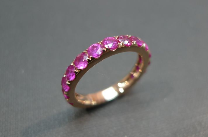 unique wedding band for bride pink sapphire yellow gold