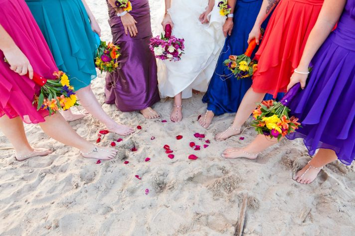 Outdoor Wedding in Delaware Mix and Match Bridesmaids colorful