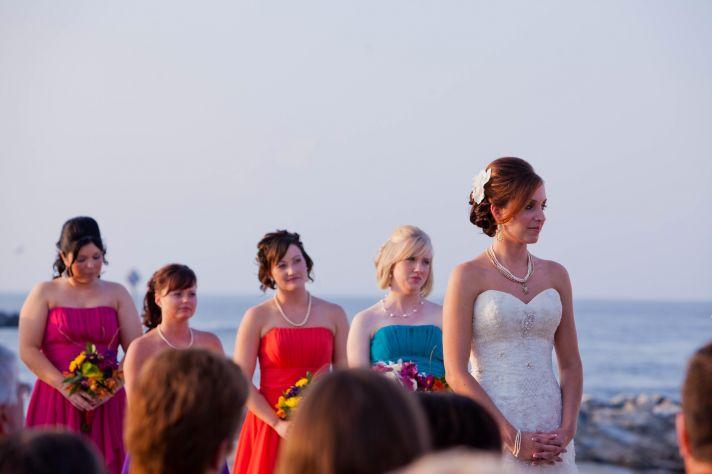 beach wedding with DIY decor ceremony chairs