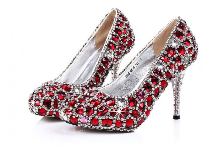 Red Wedding Accessories ruby encrusted bridal heels
