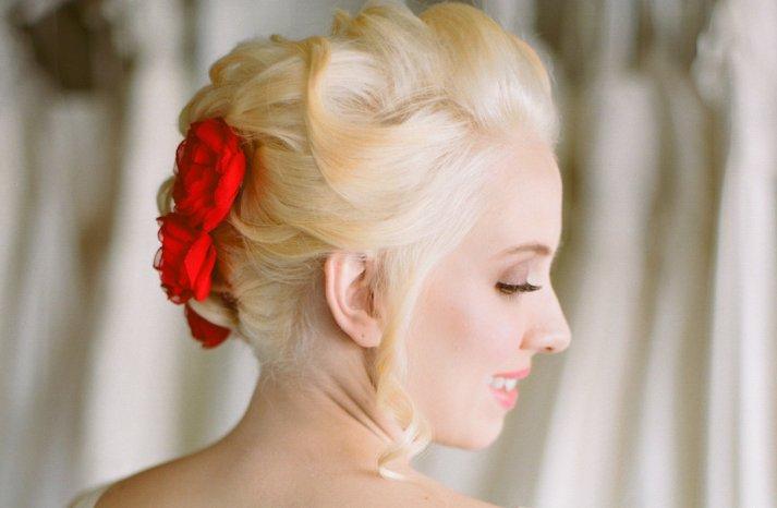 Racy Red Wedding Accessories handmade hair flowers 2