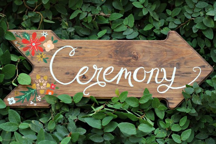 Handmade Rustic Wedding Finds ceremony sign