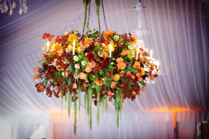 Wedding Ideas We Love Floral Adorned Chandeliers fall flowers