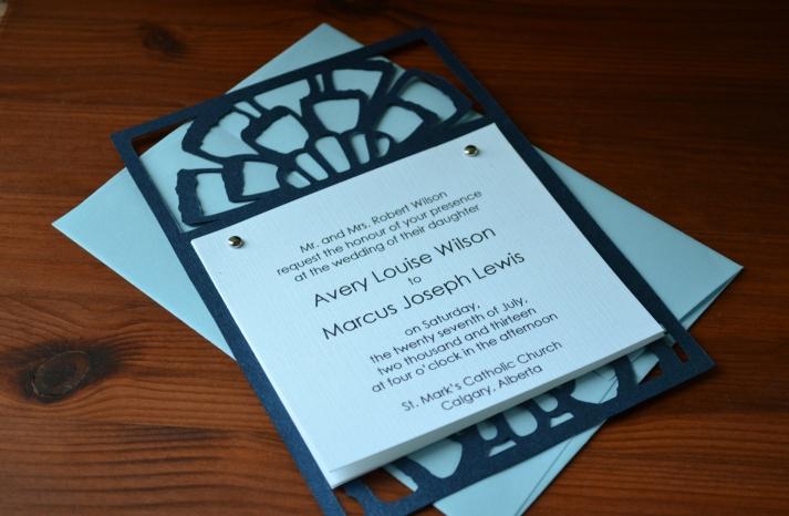 Handmade Wedding Finds Laser Cut navy aqua invitation