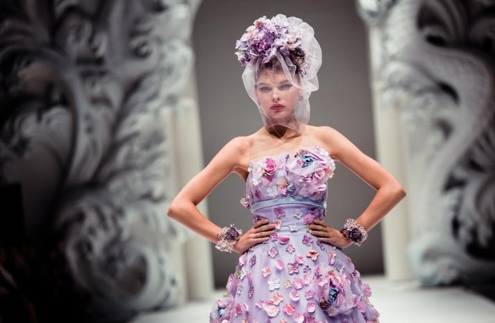 Whimsical Wedding Inspiration Floral Embellished Bridal GOwn Lilac Lavender