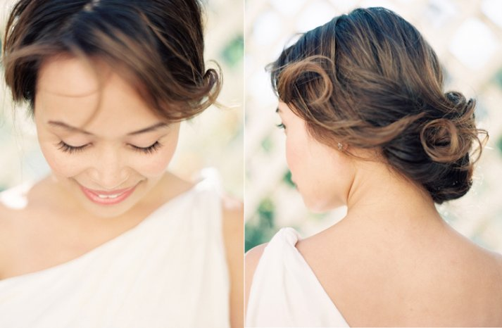 Romantic Bridal Updo outdoor spring wedding