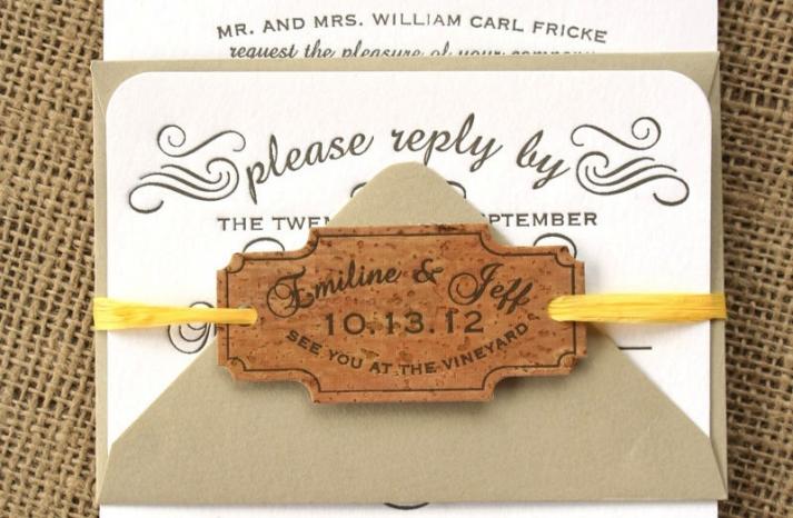 Handmade Wedding Finds for Unique Weddings Cork invitations