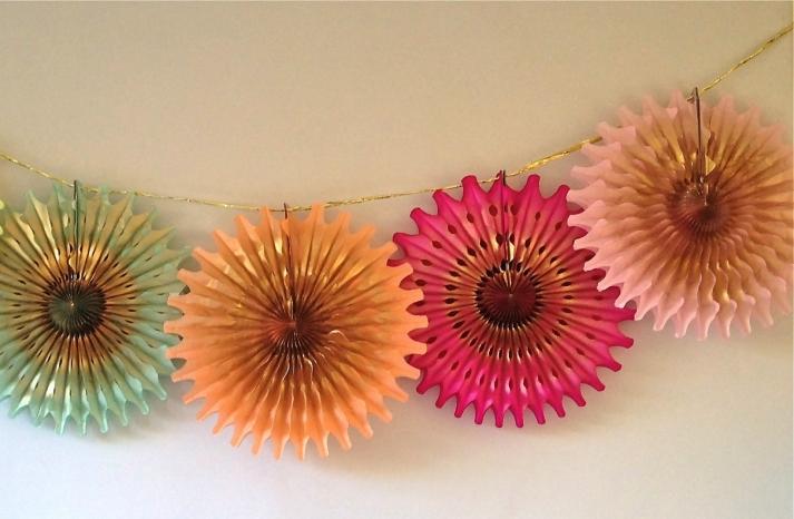 Holiday Wedding Decor Gilded Pinwheel Bunting