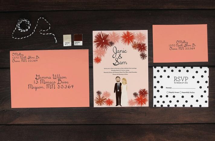 Custom Wedding Invitation Suite Coral Black Illustrated