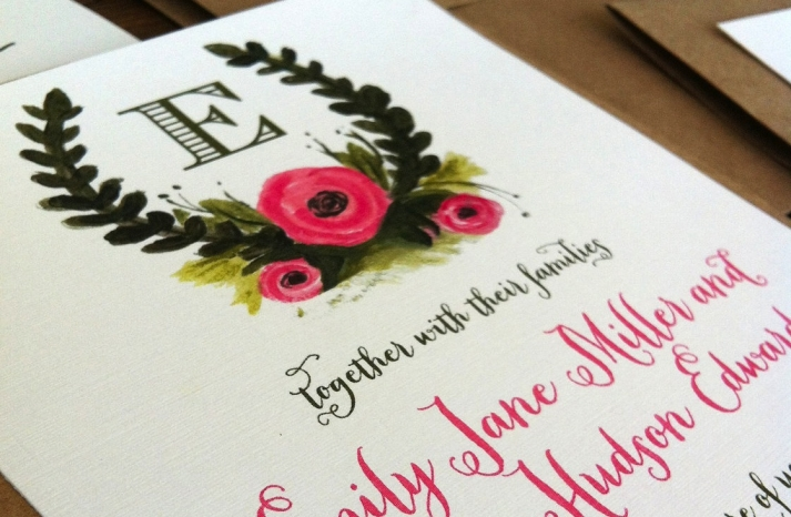 Rustic Illustrated Wedding Invitations Pink Olive Ecru