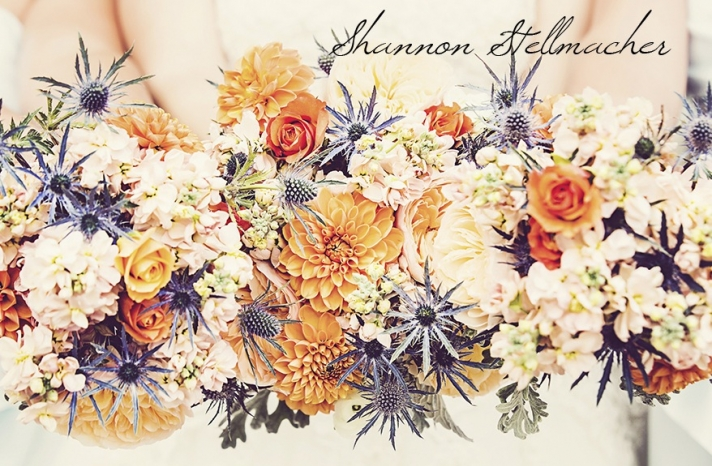 Orange Peach Navy bouquets California Wedding Photography by Shannon Stellmacher