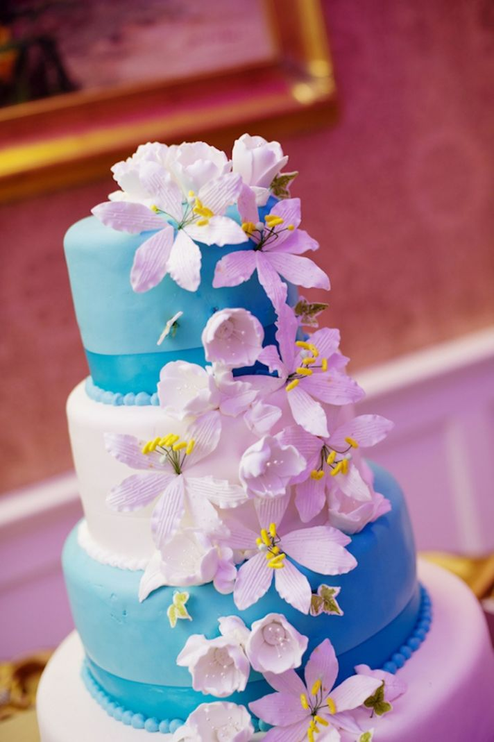 Aqua and White Wedding Cake and Reception Catering
