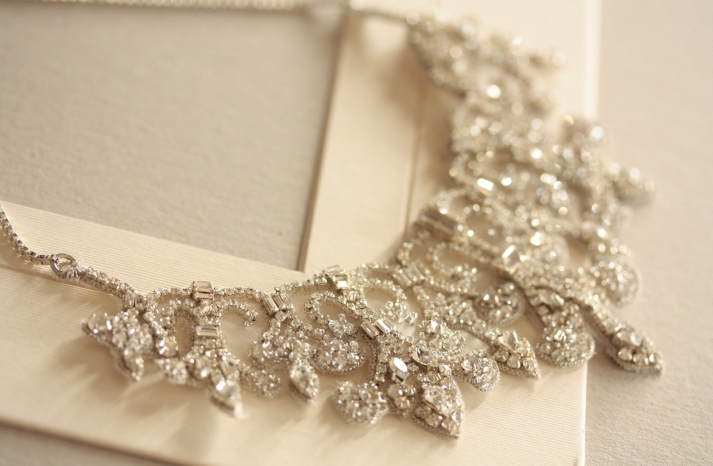 Vintage inspired bridal necklace statement wedding jewelry