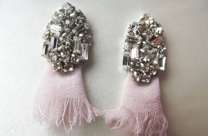 Art Deco Bridal Earrings Pastel Pink Diamante