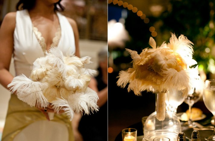 Feather Bridal Bouquet for Vintage Weddings